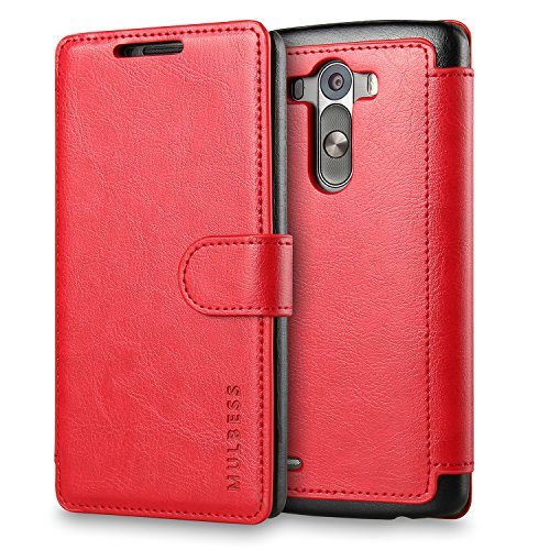 LG G3 Case Wallet,Mulbess [Layered Dandy][Vintage Series][Wine Red] - [Ultra Slim][Wallet Case] - Leather Flip Cover with Credit Card Slot for LG G3 (Phone Wallet With G3 Cases Lg)
