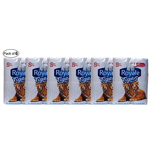 Royale 2-Ply Tiger Towel Handy Half Sheets Paper Towel (Pack of 6)