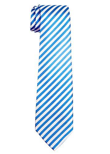 White Stripe Boys Tie (Retreez Striped Woven Microfiber Boy's Tie (8-10 years) - Blue and White Stripe)