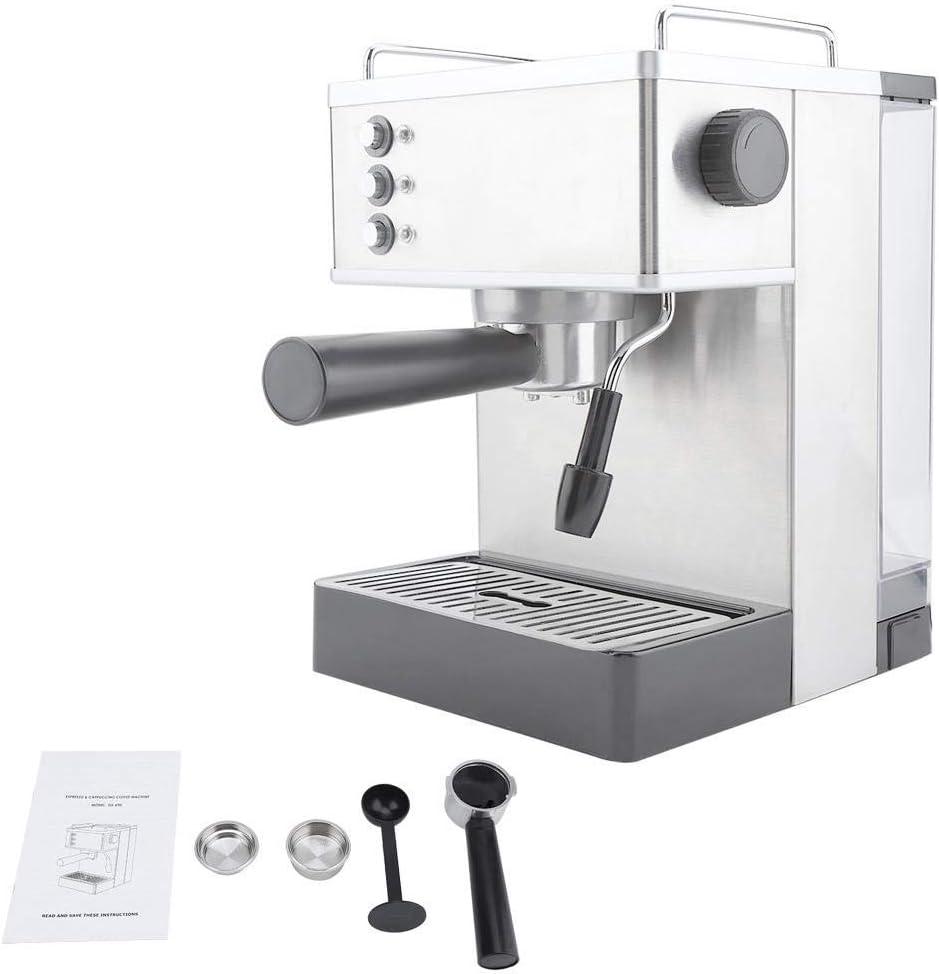 コーヒーマシン、ステンレススチールエスプレッソコーヒーマシンコーヒーメーカー高圧イタリアポンプ(US Plug)