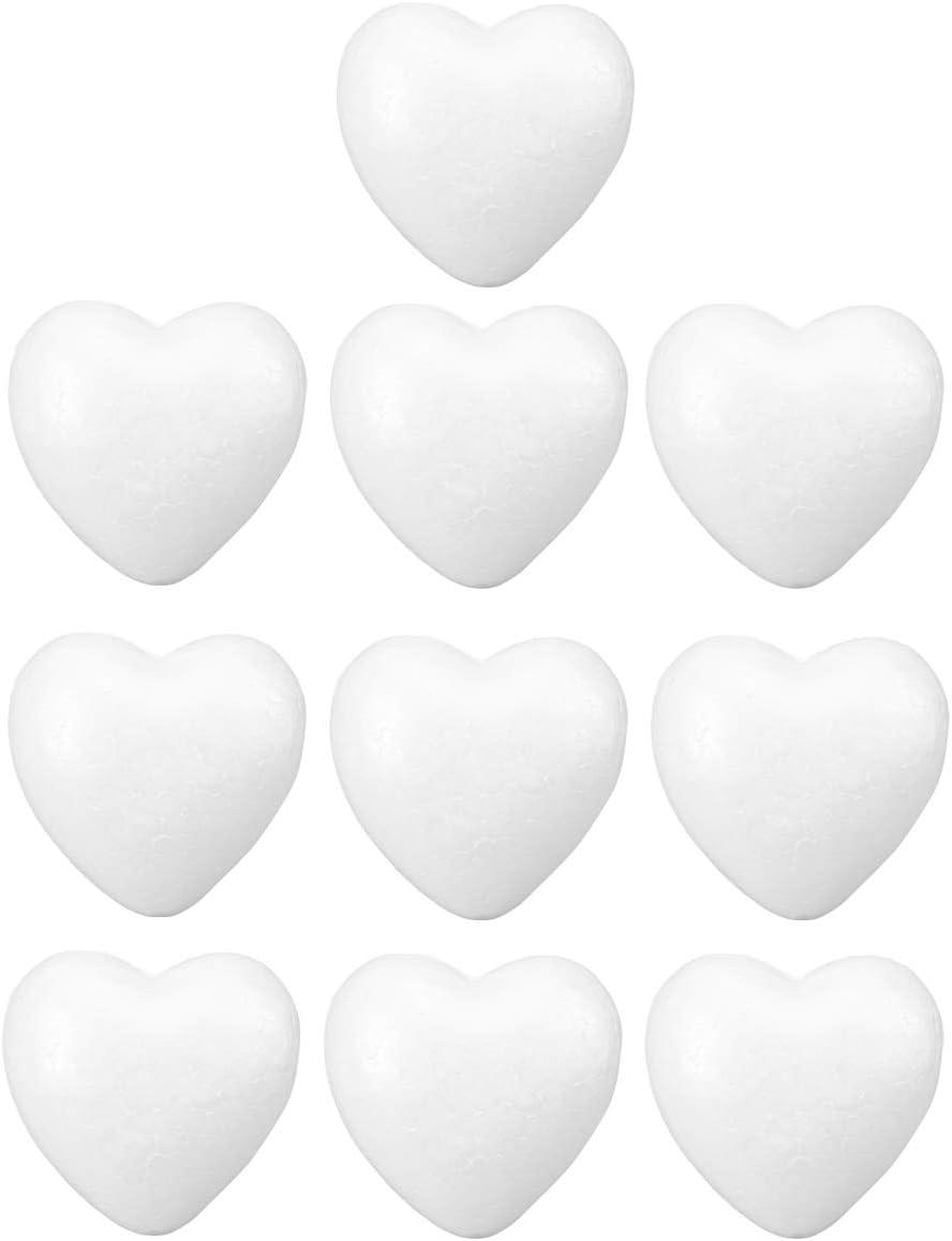10pcs Craft Foam Hearts Heart-Shaped Polystyrene Foam Ball Styrofoam Polystyrene Foam Heart for Arts Craft Use DIY Ornaments Wedding Decorations 6cm (White)