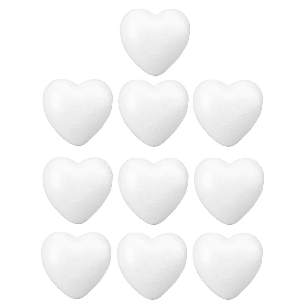 Toyvian 10pcs Artisanat Mousse Coeurs en Forme de Coeur Boule de Mousse de polystyr/ène pour Les Arts et lartisanat utilisent Bricolage Ornements de Mariage d/écorations 6cm Blanc