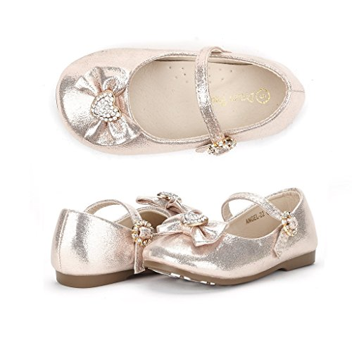 Dream Pairs ANGEL-22 Mary Jane Front Bow Heart Rhinestone Buckle Ballerina Flat (Toddler/ Little Girl) New, Gold, 6 M US (Toddler Flower Girl Shoes)