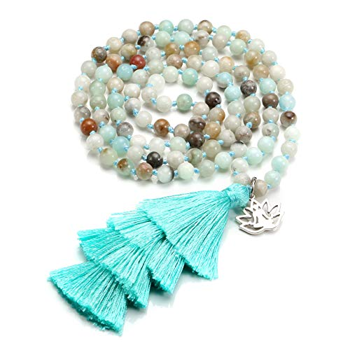 (Top Plaza 108 Mala Prayer Beads Natural Gemstone Bohemia Tassels Bracelet Necklace Healing Crystals Yoga Meditation Tibetan Wrap Bracelets - Amazonite - Sky Blue)