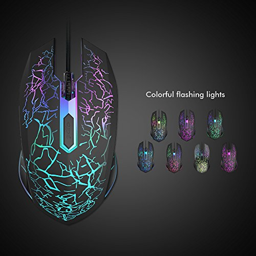 Wired Mouse, VersionTech Ergonomic Optical USB Gaming Mouse Mice With 4 DPI Settings Up to 2400 DPI, 7 Colors Cool LED Backlight for Laptop PC Computer Gamer – Black