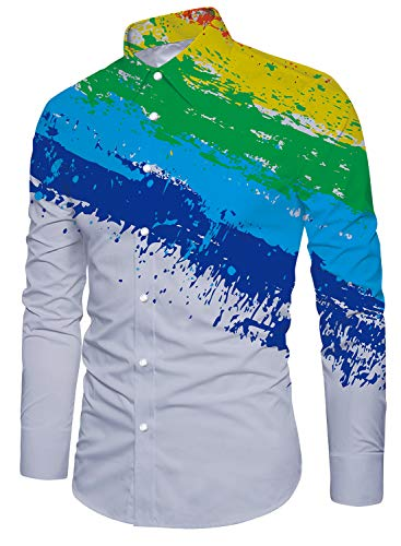 WANSHIYISHE Mens V-neck Floral 3D Print Short Sleeve Henley Shirt
