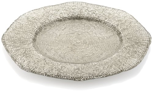 Tuscany Glass Service Plate - IVV Glassware Diamante 13-1/2-Inch Round Charger, Beige Chrome Decoration