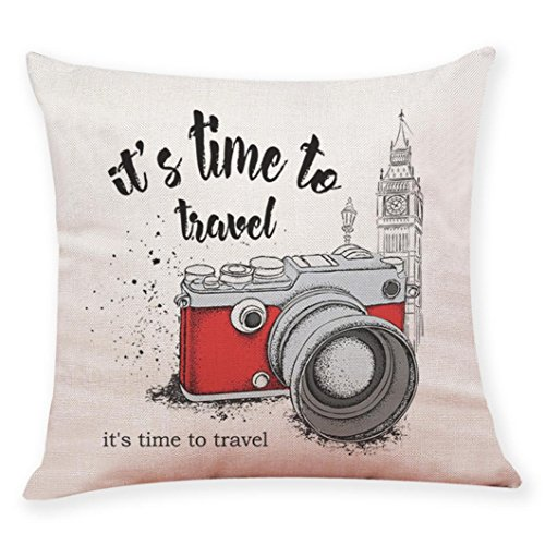 (TiTCool Pillow Covers, Camera Landscape Travel Theme Home Bar Sofa Decorative Cotton Linen Cushion Cover 18 x 18 (B))