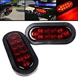 "1 Pair RED 6"" Oval LED 10 Diode Tail Light W/grommet & Plug Truck Trailer Sealed **Free Shipping**"