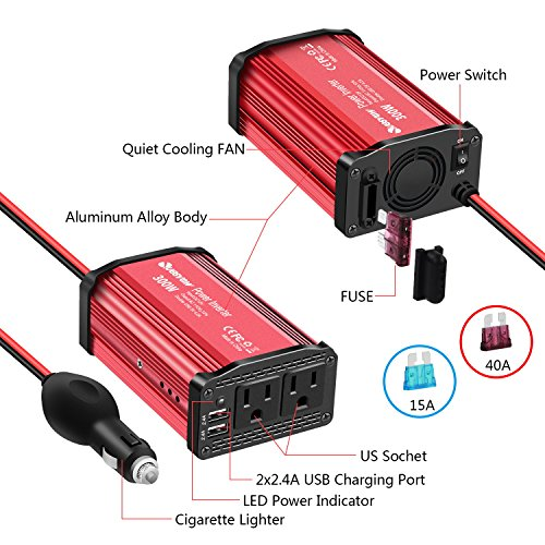Quesvow 300W Power Inverter DC 12V to 110V AC Converter with 4.8A Dual USB Car Charger Adapter-Red