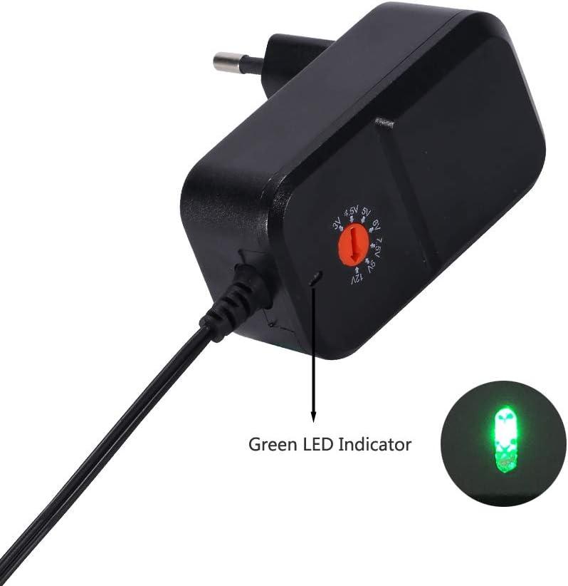 EMEXIN 18W AC DC Adaptateur dalimentation du transformateur Chargeur avec 8 Diff/érents Bouchons pour 3V// 4.5V// 5V// 6V// 7.5V// 9V// 12V Les appareils m/énagers Tablettes Routeur Cam/éra LED Strips TV