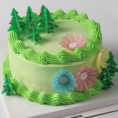 GEORLD 12Pcs 3D Edible Christmas Tree Cake & Cupcake Toppers (Edible Christmas Decorations)