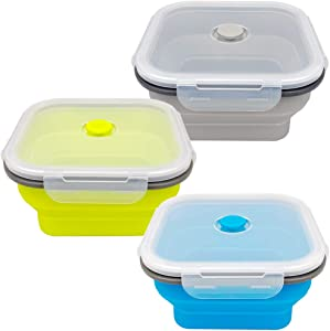 CARTINTS Large 1200ml Collapsible Bowls with Lids Silicone Camping Bowls, with Airtight Lids, Microwave and Freezer Safe, Set of 3
