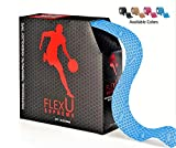 FlexU – Blue Kinesiology Tape; 140 PreCut Strips (115 feet) Bulk Pack; Advanced Strength and Flexibility Properties; Longer Lasting, Pro Grade Therapeutic Recovery Synthetic Sports Tape