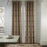 "PASSENGER PIGEON Modern Luxury Jacuqard Patchwork Floral Gold Grommet Top Curtains Draperies Panels With With Multi Size Costomized 42"" W x 96"" L (One Panel)"