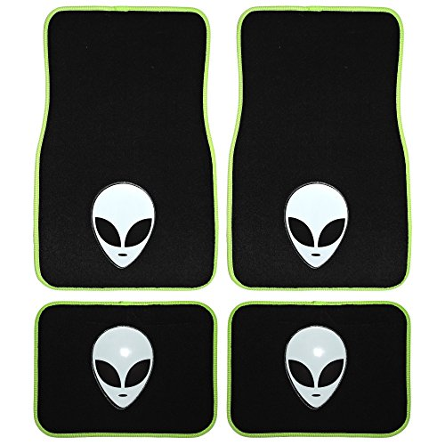 UAA 4pc Alien Head extraterrestrial Universal Front Rear Carpet Floor Mat Set