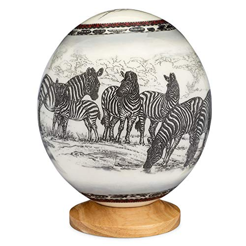 Premium Decorated Ostrich Egg with Wooden Display Stand - Decorative Painted Large Ornamental Eggshell - Various Designs for Display, Conversation Piece (Zebra) ()