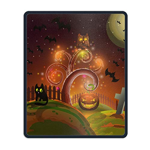 Personalized Rectangle Mouse Pad, Printed Halloween Party Tree,Non-Slip