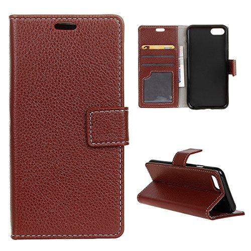 Coque iPhone 7 Moonmini® Flip Folio Portefeuille Carte Slot PU Cuir Etui en cuir de protection avec Fermeture Magnétique pour iPhone 7 marron