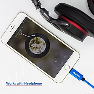[Upgraded] Lightning to 3.5mm Male Aux Stereo Audio Cable, Compatible with iOS 11 or Above, iPhone 7/7P/8/8P/X or Any Lightning Port to Car Stereo Speakers or Headphone Audio Jack (Blue)