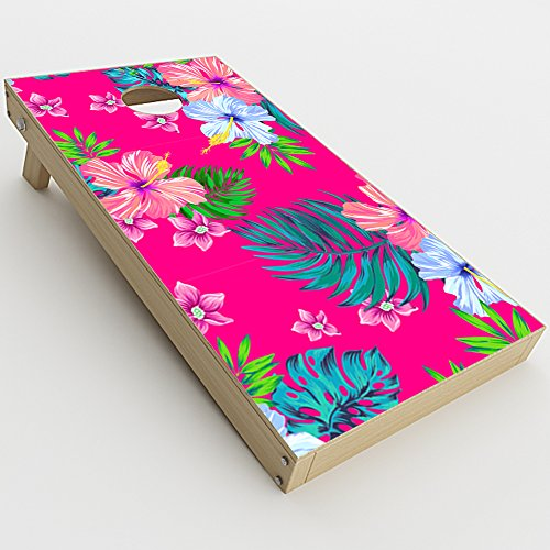 Skin Decal Vinyl Wrap for Cornhole Game Board Bag Toss (2xpcs.) Skins Stickers Cover / Pink Neon Hibiscus Flowers