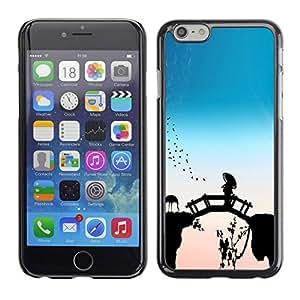 Be Good Phone Accessory // Dura Cáscara cubierta Protectora Caso Carcasa Funda de Protección para Apple Iphone 6 Plus 5.5 // Bridge Fairytale China Flamingos Nature Bird