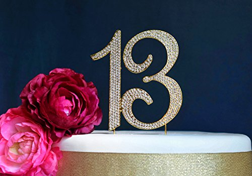 13 GOLD Cake Topper   Premium Bling Crystal Rhinestone Diamond Gems   13th Birthday or Anniversary Party Decoration Ideas   Quality Metal Alloy   Perfect Keepsake (13 Gold)