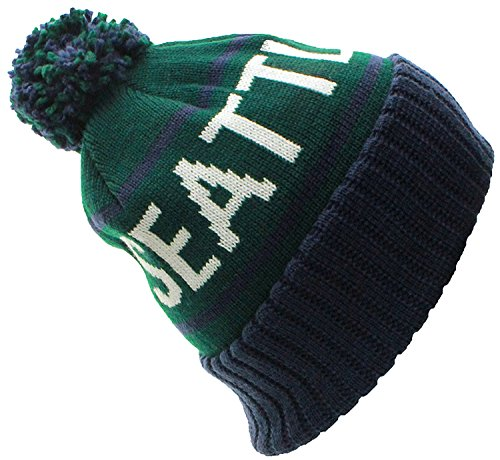 American Cities Seattle WA Champions City Cuff Cable Knit Pom Pom Beanie Hat - Men Wa Of