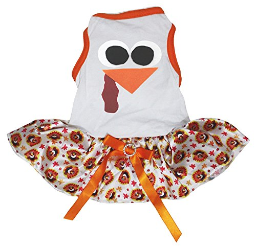 Petitebella Thanksgiving Turkey Face White Shirt Turkeys Tutu Puppy Dog Dress (X-Large)