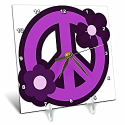 3dRose dc_124607_1 Purple Peace Sign with Purple Flowers Desk Clock, 6 by 6-Inch