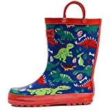 LONECONE Children's Waterproof Rubber Rain Boots in Fun Patterns with Easy-On Handles Simple for Kids, Puddle-a-Saurus Dinosaur, Toddler 7