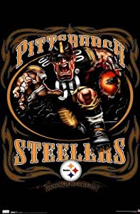 Professionally Plaqued Pittsburgh Steelers (Mascot, Grinding It Out Since 1933) Sports Poster- 22x34 with RichAndFramous Black WoodMounting
