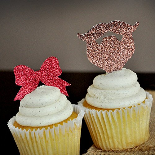 Gender Reveal Party Decor. Beards or Bows Cupcake Toppers 12CT.