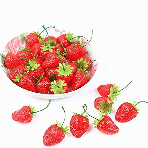 SENREAL 30pcs Fake Strawberries Realistic Artificial Strawberry Lifelike Fake Fruit Decorative Plastic Strawberries Photography Prop Home Kitchen Cabinet Party Pub Ornament