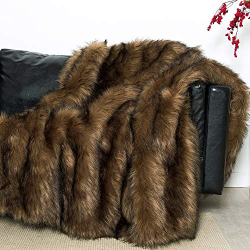 Luxury Plush Faux Fur Throw Blanket, Long Pile Camel Brown with Black Tipped Blanket, Super Warm, Fuzzy, Elegant, Fluffy Decoration Blanket Scarf for Sofa, Armchair, Couch and Bed, 50''x 60'' (Brown Camel Couch)