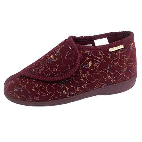 Dunlop Schuhwerk Damen Slipper Blumenmuster Hausschuh Weinrot Damen rutschfest Betsy RrR4T