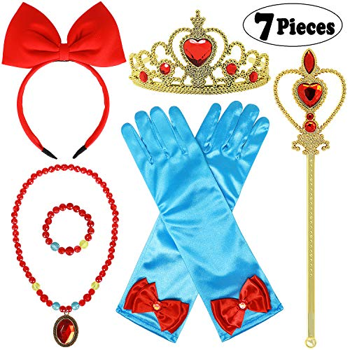 Tacobear Princess Dress up Accessories 7 PCS Princess Snow White Gifts Set for Toddlers Girls Including Crown Scepter Wand Necklace Bracelet Gloves Red Bow Headband -