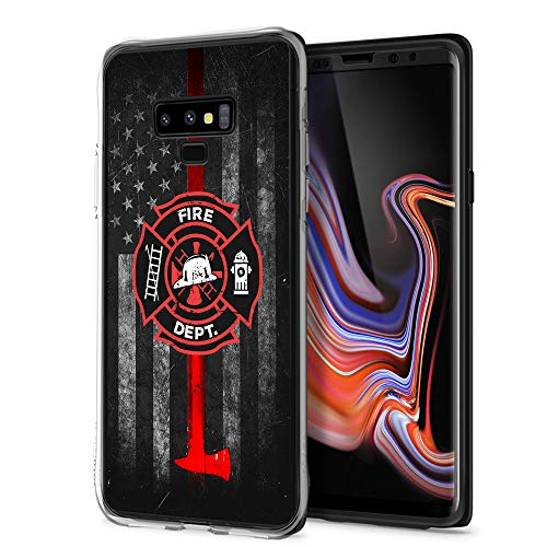 (Cocomong Thin Red Line Firefighter Cool Galaxy Note 9 Case, Slim Thin Silicone Protective Cover Case for Samsung Galaxy Note 9 for Girls Womens)