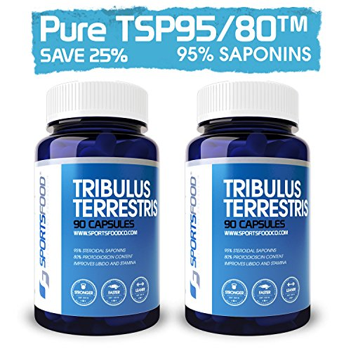 2x Tribulus Terrestris 1000mg X 90 капсул, 95% стероидные сапонины, 80% Протодиосцин (25% BULK сбережений)