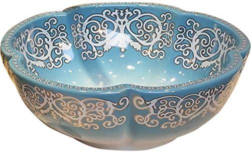 洗面ボール・洗面器 洗面化粧台 洗面台グラデーションブルーアートカウンタートップ盆地 浴室の幾何学的なセラミック洗面器 家のバルコニーの庭の花の形のシンク (Color : SetA, Size : 41*15cm)