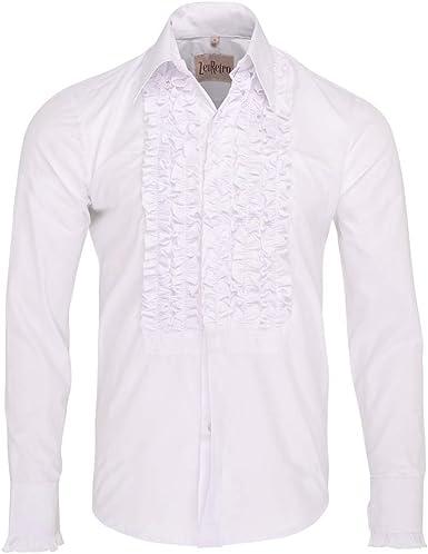 ZenRetro Hombre Blanco Camisa de Esmoquin de Gala con Volantes 4XL: Amazon.es: Ropa y accesorios