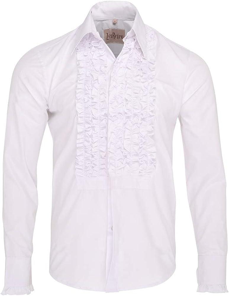 ZenRetro Hombre Blanco Camisa de Esmoquin de Gala con Volantes 2XL: Amazon.es: Ropa y accesorios