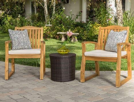 Luca Outdoor- Sunroom Furniture- Out Door Patio Furniture- Teak Acacia Wood Chair Round Brown Wicker Table Three Piece Set - Great for Summer Barbecues, Garden Parties, and Afternoons Spent Lounging