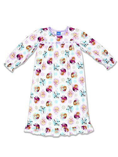 Disney Frozen Elsa Anna Girls Flannel Granny Gown Nightgown (8, White/Multi)