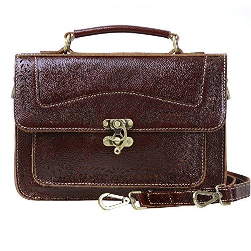 - 【Guarantee!!】Women's Top Grain Leather Small Satchel Purses Shoulder Messenger Bags Vintage Handbag for Ladies & Girls, LW3907