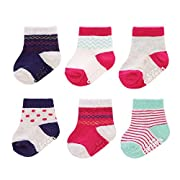 Carter's Girl 6-Pack Socks with Grippers, Crew-Pink Fairisle, 0-3 Months