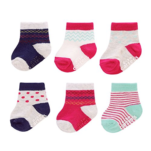 Carter's Baby Girls' Crew Socks (6 Pack), White/Pink/Navy, 3-12 MONTHS