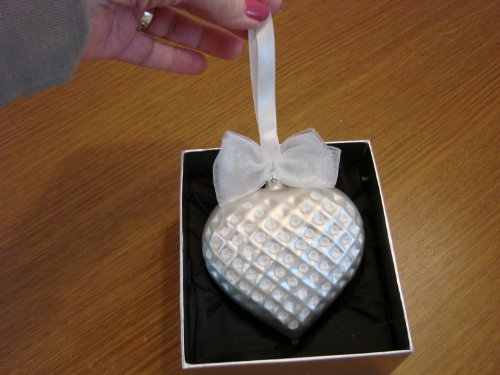 Jeweled Blown Glass Pearl White Heart Ornament NIB