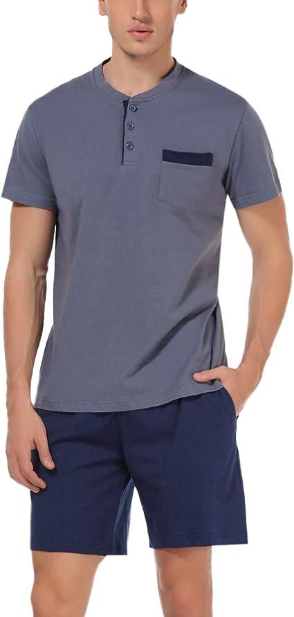 Hawiton Pijama de Verano Hombre Corto Ropa para Dormir de 100% Algodón Pijamas de Manga Corta 2 Piezas Camiseta y Pantalones Cortos para Hombres: Amazon.es: Ropa y accesorios