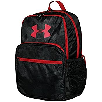 Under Armour HOF Youth Boys Athletic Multi purpose School Backpack (Black/red)